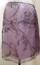 Lafayette 148 New York Purple Violet Silk Blend Skirt Floral Design Size 12