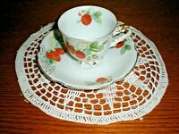 Vintage (1940's) Ucagco Demitasse Footed Raspberry CUP & SAUCER, Occupied Japan