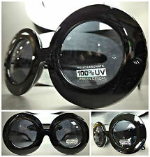 OVERSIZE EXAGGERATED RETRO VINTAGE SUN GLASSES X-Large Thick Round Black Frame