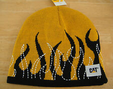 CAT Caterpillar Black Flame Yellow Hat Cap Beanie White Flame Details & Patch