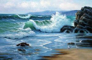 Wonderful Oil painting sunrise seascape with green ocean waves & sea birds rocks