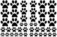 VINYL WALL DECAL STICKER BLACK PAW PRINTS - 3 sheets total of 66 pieces DOG CAT
