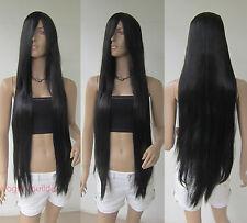 40 inch 100 cm Long Bang Black Straight Cosplay Party Hair Wig 1B