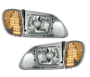 International 9400 SBA Clear Headlights w/LED Corner Light 2001-2011 5900 9200