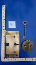 Vintage Antique Cabinet/Safe/ Furniture 2 Lever Brass Lock and Key(lot160)