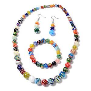 """Steel Glass Stretch Bracelet Earrings Necklace Gift Set for Women Size 20"""""""