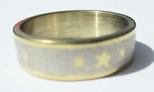 Gold Star Stainless Steel Ring - Size 9  (19mm)