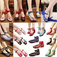 Chinese Embroidered Flower Flat Shoes Ladies Comfy Mary Jane Ballet Cotton Pump