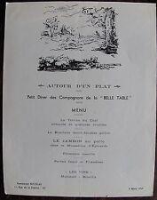 """Georges VILLA: MENU, """" petit diner des compagnons de la BELLE TABLE"""". 1959"""
