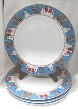 Snowman by Sakura Dinner Plate Set 4 Great Shape Discontinued 1997 - 2002 10 3/4