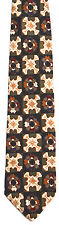 Men's New Silk Neck Tie, Green Black Brown square flower by Anthony Richards