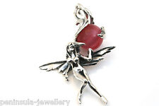 Sterling Silver Red Cats eye Quartz Fairy necklace pendant, no chain, gift boxed