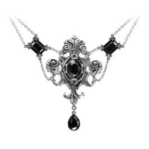 Alchemy Gothic Queen of the Night Ornate Necklace Faceted Black Crystals P503