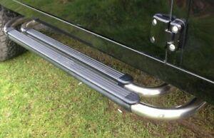 Land Rover Defender 90 OEM Black & Stainless Steel Running Boards Side Steps New