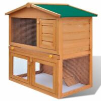 vidaXL Wooden Rabbit Hutch 3 Doors Bunny Cage Animal House Hen Poultry Cage