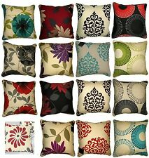 """Printed Flower Cushion Covers sofa chair bed 18"""" x 18"""" / 45 x 45 cm Poly Cotton"""