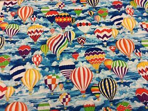Robert Kaufman Pleasures And Pastimes Hot Air Balloons 100% Cotton