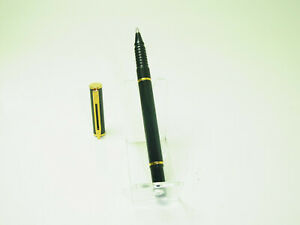 Mint Condition French WATERMAN Jet Black & Gold Trim Rollerball Pen