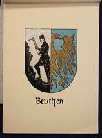 """kolor. Tuschezeichnung """"Wappen der Stadt Beuthen/ Schlesien"""" um 1930 Kunst sf"""