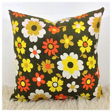 Vintage Retro 60s 70s Green Flower Power Fabric Cushion Cover VW