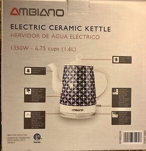 New In Box Ambiano 1.6 L Cordless Electric Ceramic Kettle Chevron, White/ Blue