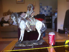 Huge Indian Chieftain on Horse with Pipe Ornament 17 Inches Tall Academy 25/3521