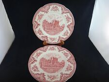 4 Johnson Bros OLD BRITAIN CASTLES PINK Dinner Plates ~NEW ~ENGLAND