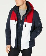 Tommy Hilfiger Mens Rolan Navy Double-Lined Colorblock Coat Jacket Puffer NWT