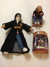 Harry Potter Items: Harry in black coat;Hermione statue &boxed Hagrid  ornament