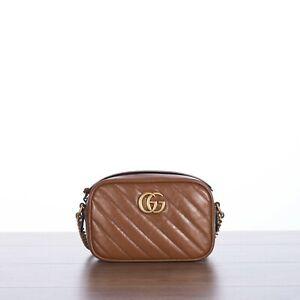 GUCCI 1100$ GG Marmont Mini Camera Bag In Brown Matelassé Leather