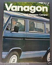 1983 Volkswagen Vanagon Truck Brochure GL L Camper Van Excellent Original 83 VW