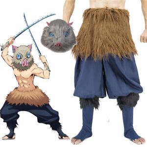 Demon Slayer Hashibira Inosuke Cosplay Costume Pants Apron Set Halloween OR Mask