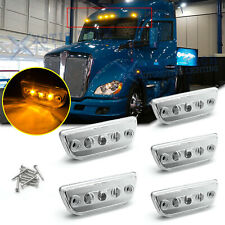 5x Clear Amber LED Roof Clearance Marker Lamps For Kenworth T680 Peterbilt 579