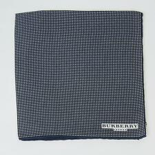 Burberry London New $115 Navy Blue White Small Polka Dot 100% Silk Pocket Square