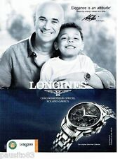 PUBLICITE ADVERTISING 106  2012  Longines montre Saint-Imier A. Agassi R Garros