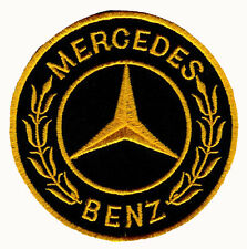 MERCEDES BENZ LOGO EMBLEM BADGE BLACK & GOLD EMBROIDERED IRON ON PATCH