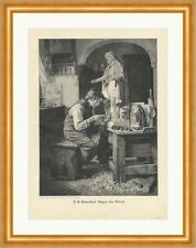 Bendición de la labor T. E. Rosenthal artesanos tallar madera personaje clave de madera a 2097