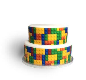 A4 Edible Decor Icing Sheet Colourful Block Brick Ribbon Border for larger cakes