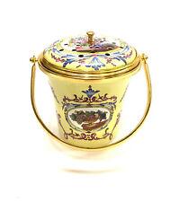 Vintage Halcyon Days Enamels Yellow Multicolor Floral Perfume Diffuser Bucket