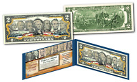 U.S. BANKNOTE 7 PORTRAITS Genuine Legal Tender U.S. $2 Bill Banknote *Must See*