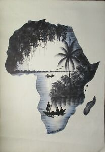 Africa Landscape Painting River Boat Fishing Peoples Limbisa.M Art