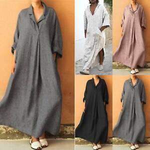 Mans Ladies Ethnic Robe Long Sleeve Islamic Muslim Baggy Kaftan Maxi Dress Tunic