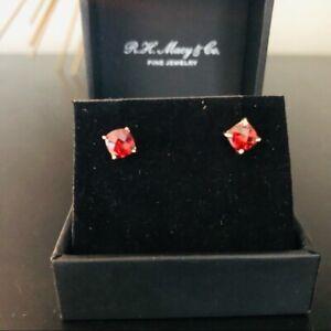 Rhodolite Garnet Cushion Stud Earrings, 14K Gold