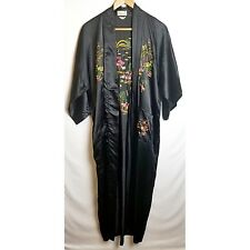Golden Bee vintage robe large black floral embroidered rayon long satin