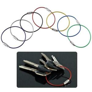 Steel Wire Screw Locking Key Chain Rope - Red Blue Green Keyring Cable Loop 15CM