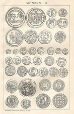B0415 Varietà di Monete - Xilografia d'epoca - 1903 Vintage engraving