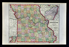 1909 George Cram Map - Missouri - St. Louis Kansas City Jefferson Columbia - MO
