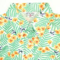 Vintage 70s Sears Polyester Shirt Womens LARGE Floral Hummingbird Sleeveless