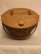 Longaberger Sewing Basket with Hinged Lid & Swinging Handle Vintage 1985