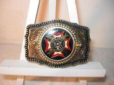 American Veterans Belt Buckle  Western Style Gold Tone